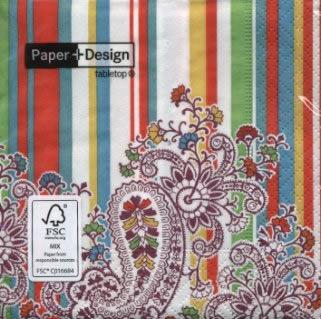 20 Servietten - 25 x 25 cm Paisley on stripes,  Sonstiges - Muster,  Blumen,  cocktail servietten
