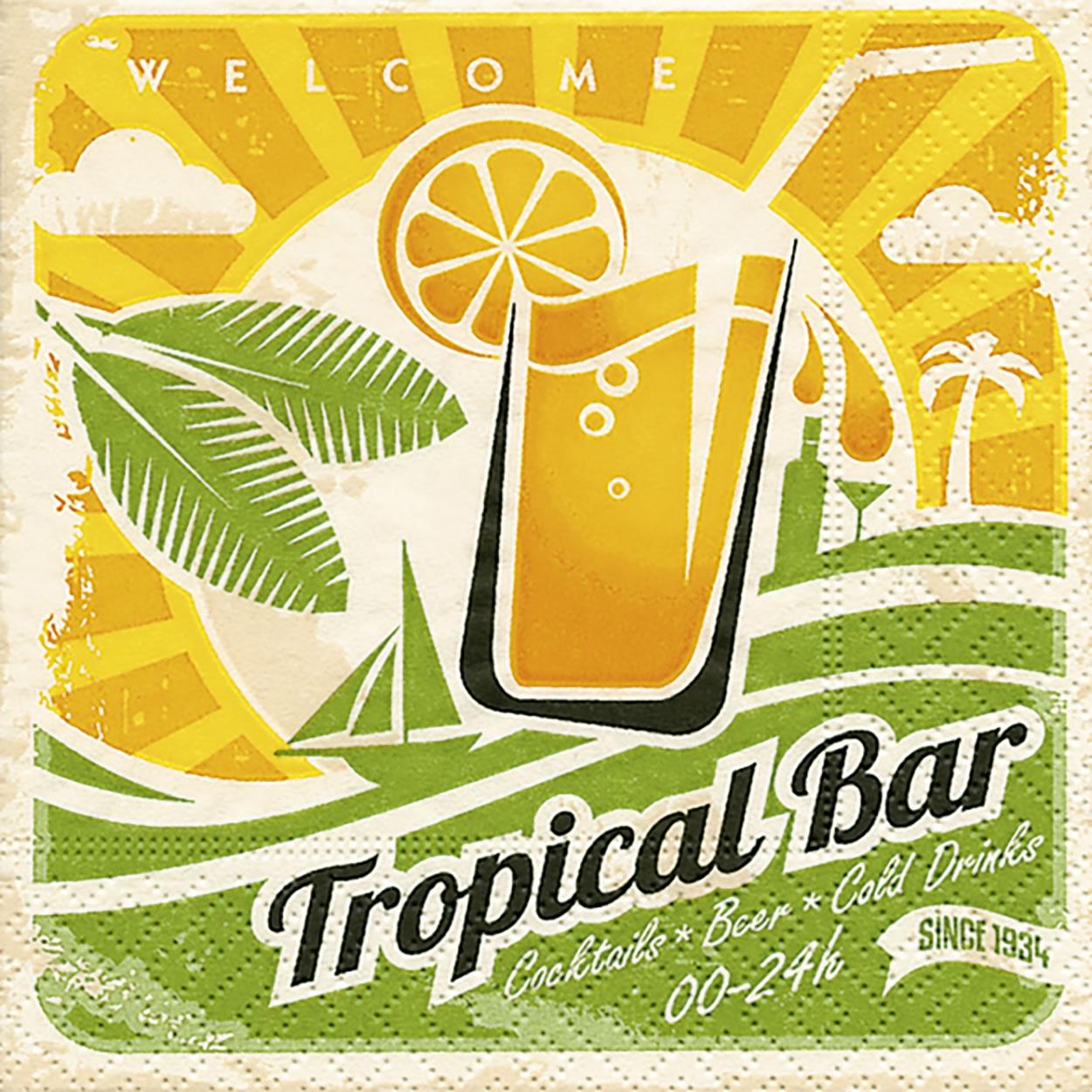 Cocktail Servietten Tropical bar