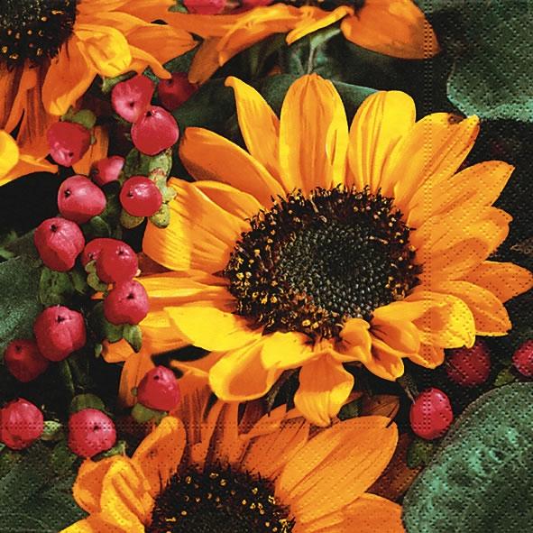 Cocktail Servietten Autumn greetings,  Früchte -  Sonstige,  Blumen - Sonnenblumen,  Herbst,  cocktail servietten,  Sonnenblume,  Früchte