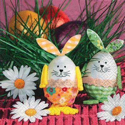 Lunch Servietten Bunny eggs,  Blumen - Magariten,  Ostern - Ostereier,  Ostern - Hasen,  Ostern,  lunchservietten,  Ostereier,  Osterhasen,  Blumen