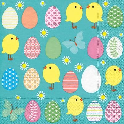 Lunch Servietten Easter allover,  Ostern - Kücken,  Ostern - Ostereier,  Ostern,  lunchservietten,  Ostereier,  Küken