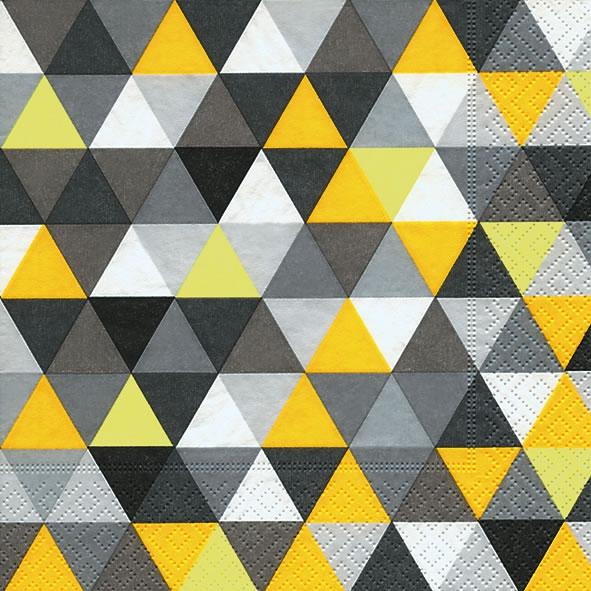 Lunch Servietten Triangles yellow/black,  Sonstiges - Muster,  Everyday,  lunchservietten