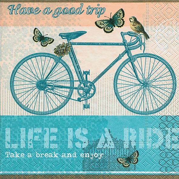 Servietten Everyday,  Fahrzeuge - Fahrräder,  Sonstiges - Schriften,  Tiere - Schmetterlinge,  Everyday,  lunchservietten,  Schriften,  Fahrrad,  Schmetterlinge
