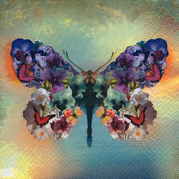 Serviettes de table 33x33 cm - Le papillon fabuleux