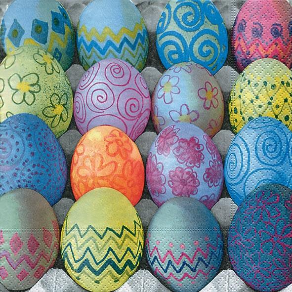 Servietten 33x33 cm - Gefärbte Eier