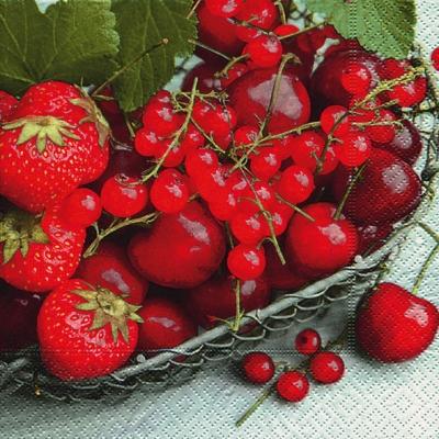 Lunch Servietten Taste of summer,  Früchte - Erdbeeren,  Früchte - Kirschen,  Everyday,  lunchservietten,  Erdbeeren,  Kirschen,  Johannisbeeren