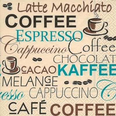 Servietten 25 x 25 cm,  Getränke Kaffee / Tee,  Everyday,  lunchservietten,  Kaffee,  Cappuccino