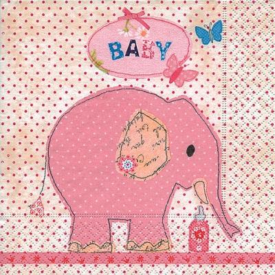 Dekorkerzen - rund - groß,  Tiere - Elefanten,  Ereignisse - Geburt,  Everyday,  lunchservietten,  Geburt,  Elefant,  Baby,  Mädchen