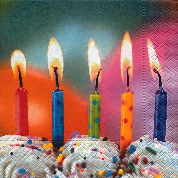 Lunch Servietten Five wishes,  Ereignisse - Geburtstag,  Everyday,  lunchservietten,  Kerzen