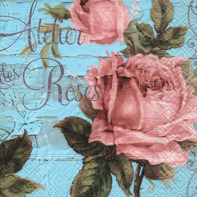 Servietten Blumenmotive,  Blumen - Rosen,  Everyday,  lunchservietten,  Schriften