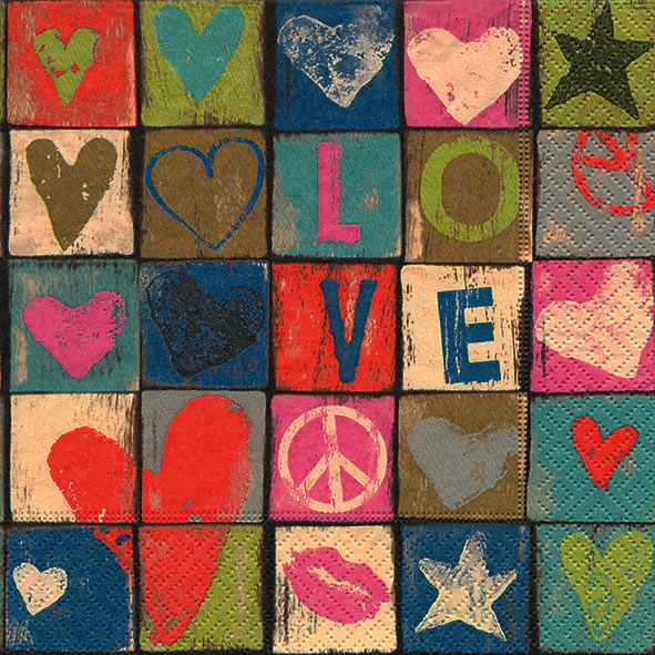 Lunch Servietten Love and peace
