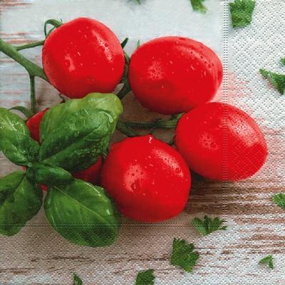 Servietten / Tomaten,  Gemüse - Tomaten,  Everyday,  lunchservietten,  Basilikum,  Tomaten