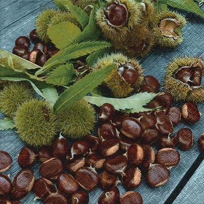 Herbst,  Früchte - Kastanien,  Herbst,  lunchservietten,  Kastanien