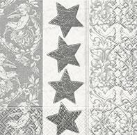 20 Servietten - 25 x 25 cm Starsn ornament silver,  Weihnachten - Sterne,  Weihnachten,  cocktail servietten,  Sterne,  Ornamente,  silber