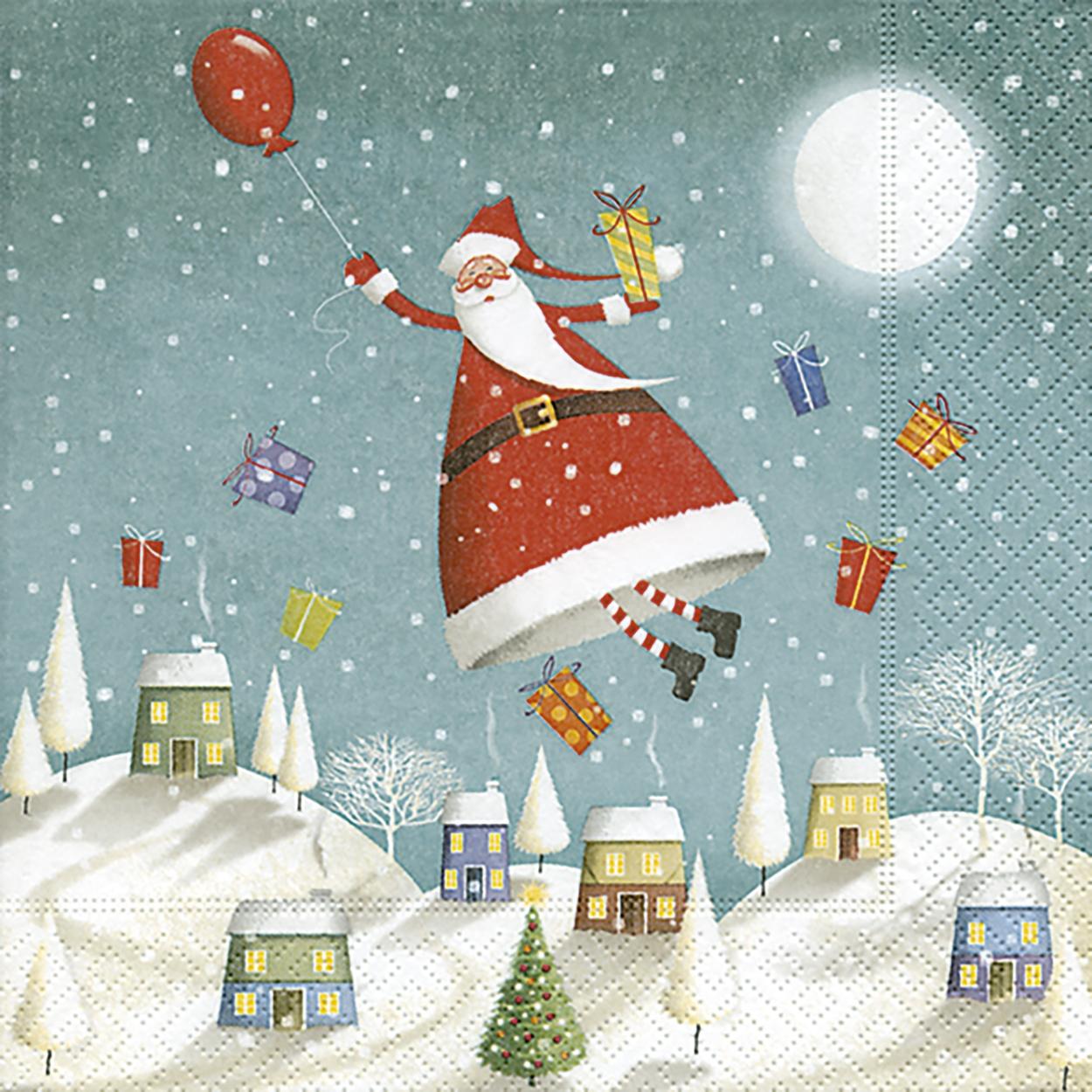 Cocktail Servietten Hovering Santa,  Winter - Schnee,  Weihnachten - Weihnachtsmann,  Weihnachten,  cocktail servietten,  Weihnachtsbaum,  Schnee,  Geschenke