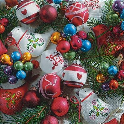 Servietten 33 x 33 cm,  Weihnachten - Baumschmuck,  Weihnachten,  cocktail servietten,  Baumschmuck,  Kugeln