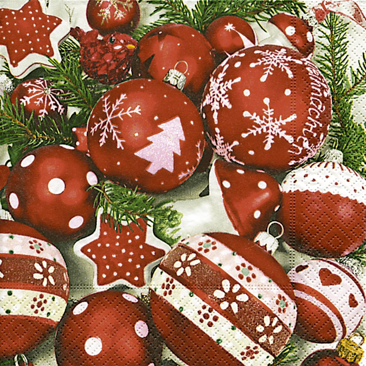 Lunch Servietten Snow white in red,  Weihnachten - Baumschmuck,  Weihnachten,  lunchservietten,  Baumkugeln