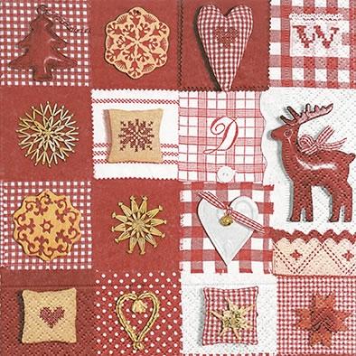 Lunch Servietten Patchwork red & white,  Tiere - Reh / Hirsch,  Sonstiges - Muster,  Weihnachten,  lunchservietten,  Ornamente,  Herz,  Sterne,  Hirsch