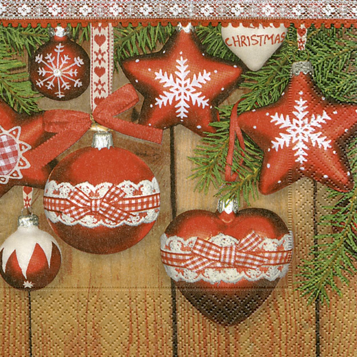 Servietten Weihnachten,  Weihnachten - Baumschmuck,  Weihnachten,  lunchservietten,  Baumkugeln,  Sterne,  Herz