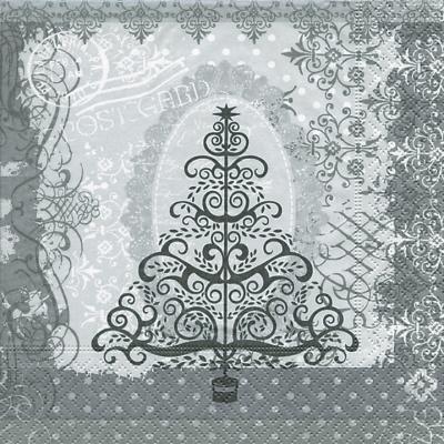 Lunch Servietten Baroque tree silver,  Weihnachten - Weihnachtsbaum,  Weihnachten,  lunchservietten,  Weihnachtsbaum,  Ornamente,  silber