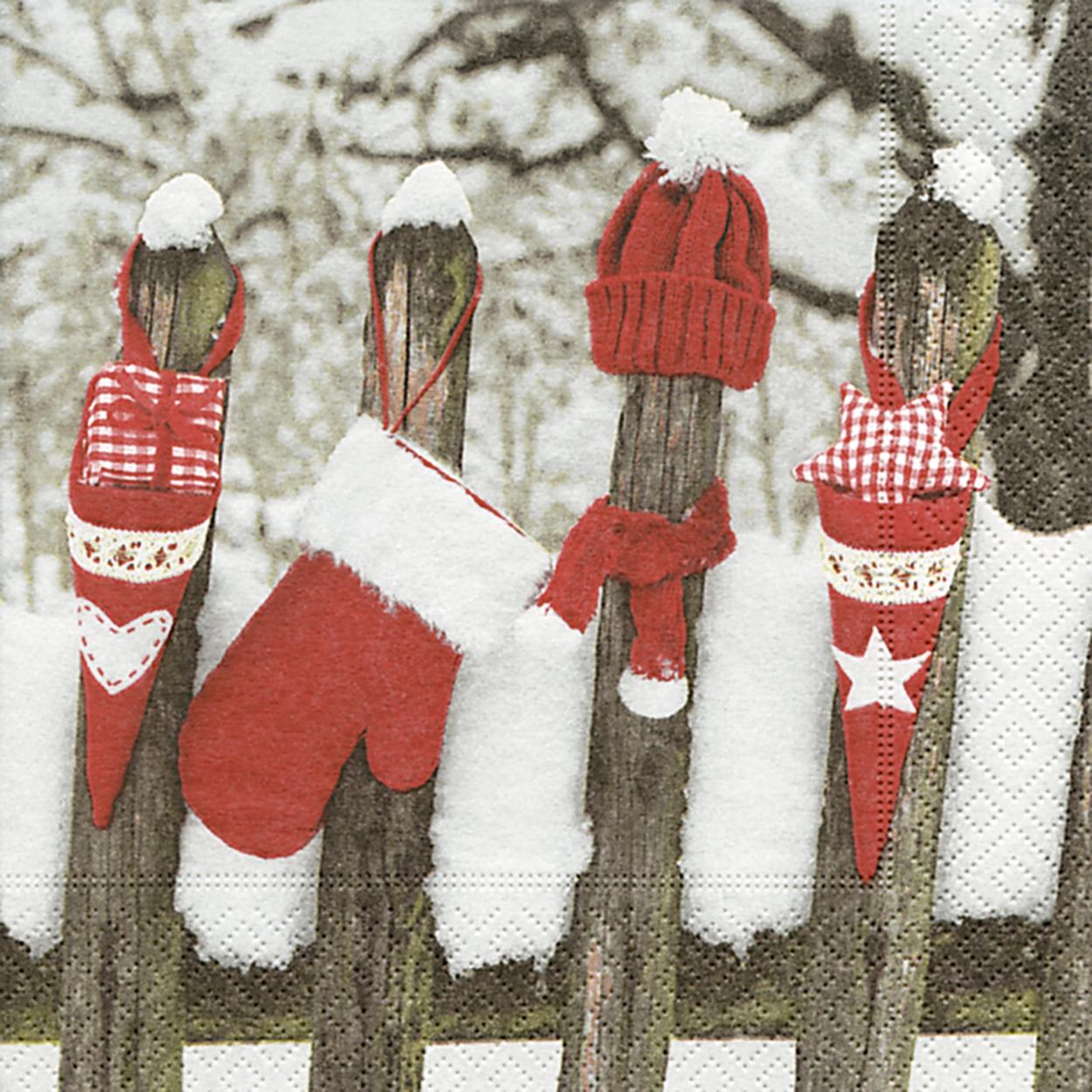 Lunch Servietten Outdoor christmas,  Weihnachten,  lunchservietten,  Zaun,  Handschuhe ,  Mütze
