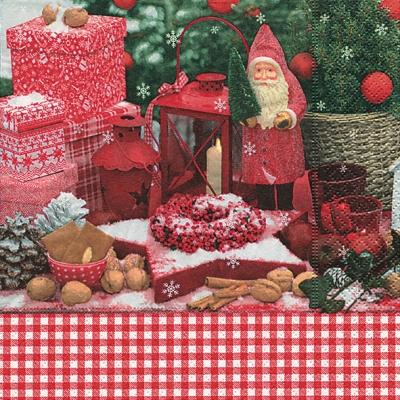 Servietten Weihnachten,  Früchte - Nüsse,  Weihnachten - Weihnachtsmann,  Weihnachten,  lunchservietten,  Laterne,  Zapfen,  Geschenke,  Sterne