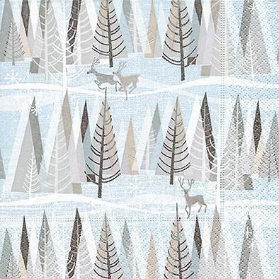 Lunch Servietten Snowy winter forest,  Tiere - Pinguine,  Weihnachten - Weihnachtsbaum,  Winter - Kristalle / Flocken,  Weihnachten,  lunchservietten,  Hirsch,  Schnee,  Bäume