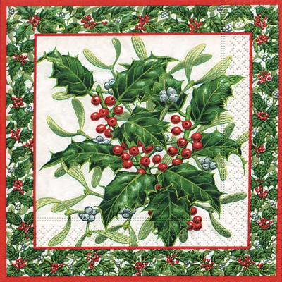 Lunch Servietten Mistletoe & ilex,  Pflanzen - Ilex,  Weihnachten,  lunchservietten,  Ilex