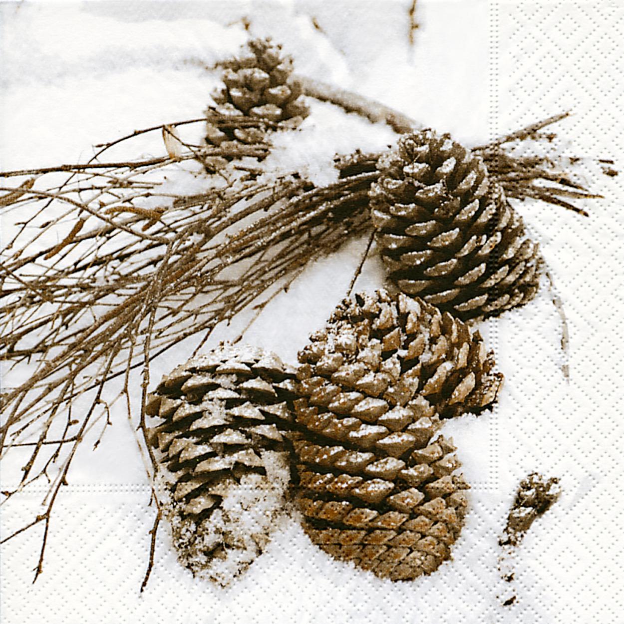 Lunch Servietten Cones in snow,  Früchte - Zapfen,  Weihnachten,  lunchservietten,  Zapfen
