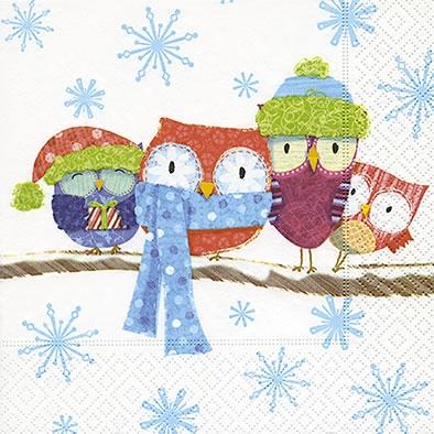 Servietten Weihnachten,  Tiere -  Sonstige,  Winter - Kristalle / Flocken,  Weihnachten,  lunchservietten,  Eulen