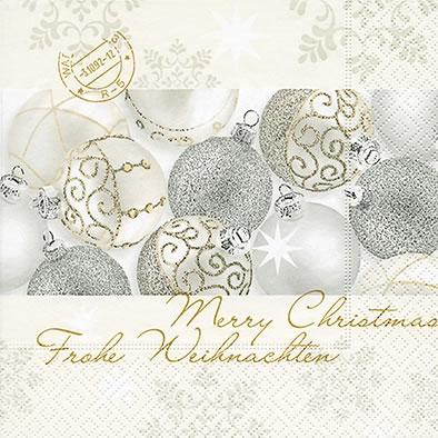 Lunch Servietten silver shiny balls,  Weihnachten - Baumschmuck,  Weihnachten,  lunchservietten,  Baumkugeln