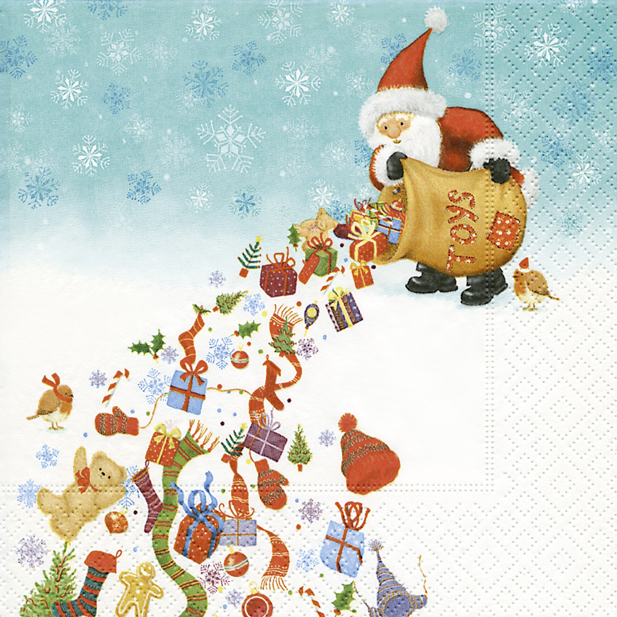 Servietten nach Motiven,  Weihnachten - Geschenke,  Weihnachten - Weihnachtsmann,  Weihnachten,  lunchservietten,  Weihnachtsmann,  Geschenke