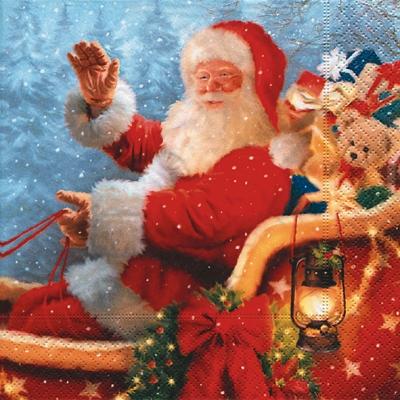 Lunch Servietten santa is starting,  Weihnachten - Geschenke,  Weihnachten - Weihnachtsmann,  Weihnachten,  lunchservietten,  Weihnachtsmann,  Geschenke,  Schlitten