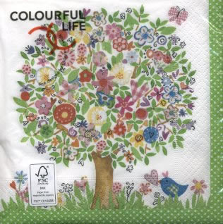 Lunch Servietten flower tree,  Blumen,  Tiere - Vögel,  Blumen -  Sonstige,  Weihnachten,  lunchservietten,  Baum,  Blüten,  Schmetterling
