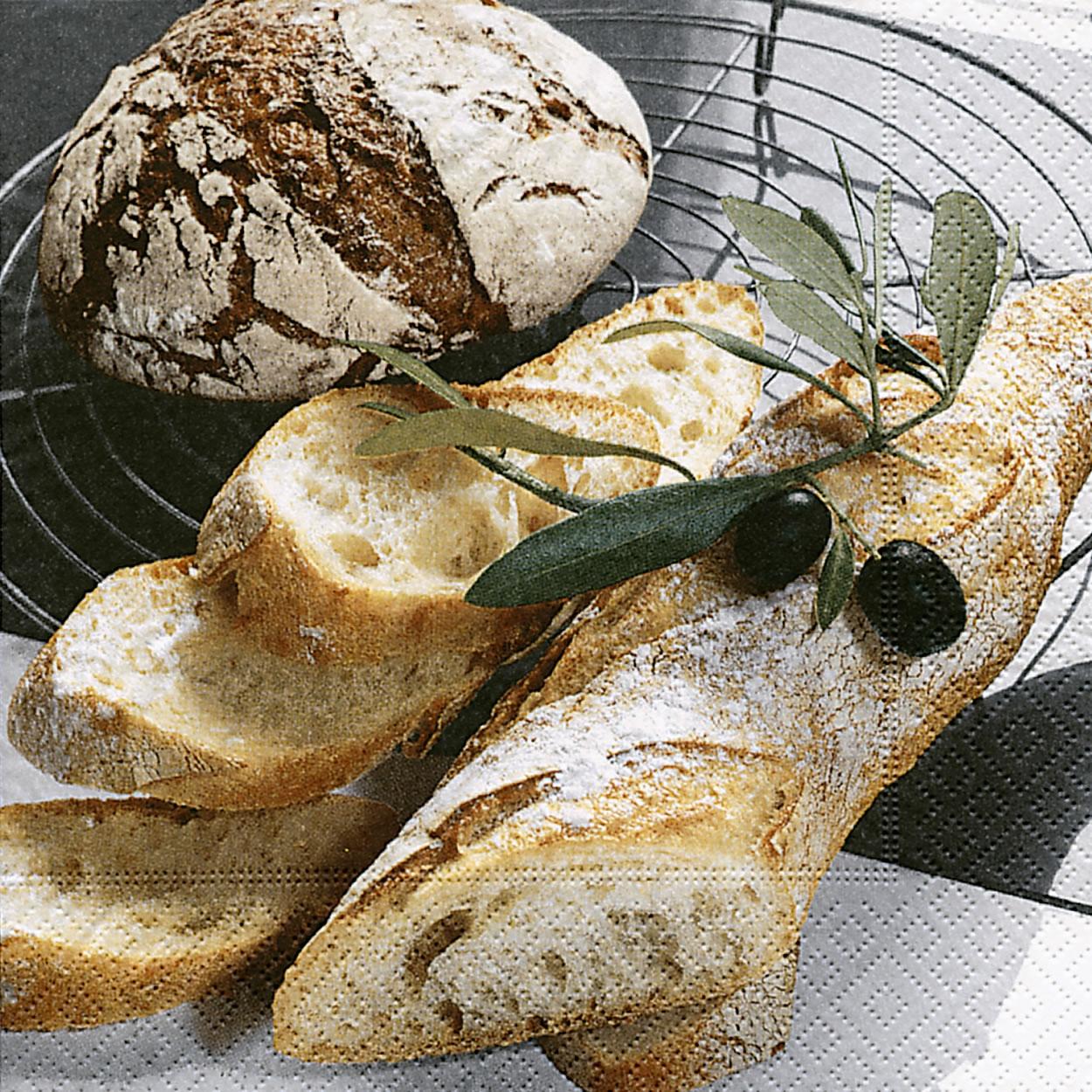 20 Servietten - 33 x 33 cm ,  Früchte - Oliven,  Essen - Brot / Brötchen,  Everyday,  lunchservietten,  Oliven,  Brot