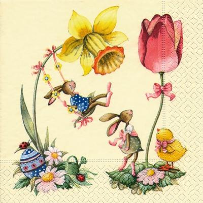 Lunch Servietten in spring,  Blumen - Tulpen,  Ostern - Ostereier,  Ostern - Hasen,  Everyday,  lunchservietten,  Narzissen,  Osterhasen,  Tulpen,  Ostereier