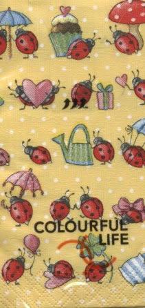 Taschentücher / Colourful Life,  Tiere,  Ereignisse,  Everyday,  bedruckte papiertaschentücher,  Marienkäfer,  Klee,  Kuchen,  Geburtstag,  Geschenke