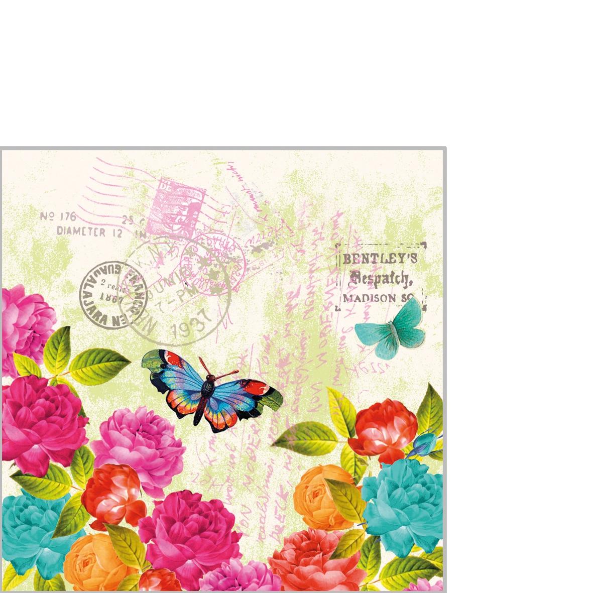 Cocktail Servietten Spring Letter,  Tiere - Schmetterlinge,  Blumen - Rosen,  Everyday,  cocktail servietten,  Rosen,  Schmetterlinge