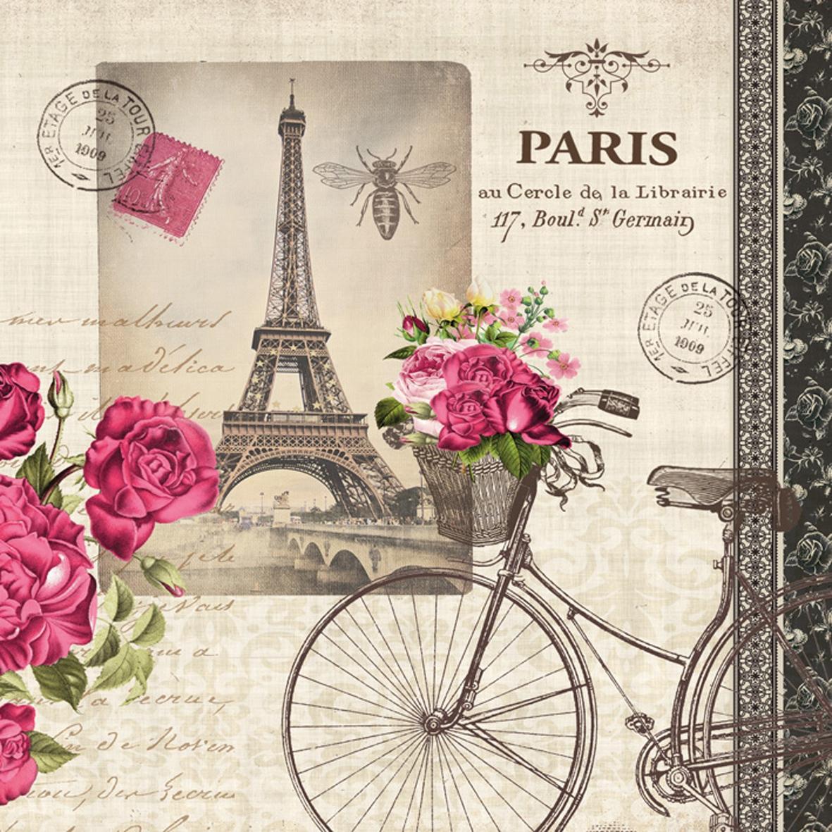 Cocktail Servietten Vélo Parisien,  Fahrzeuge - Fahrräder,  Regionen - Länder - Frankreich,  Everyday,  cocktail servietten,  Eiffelturm,  Paris,  Fahrrad