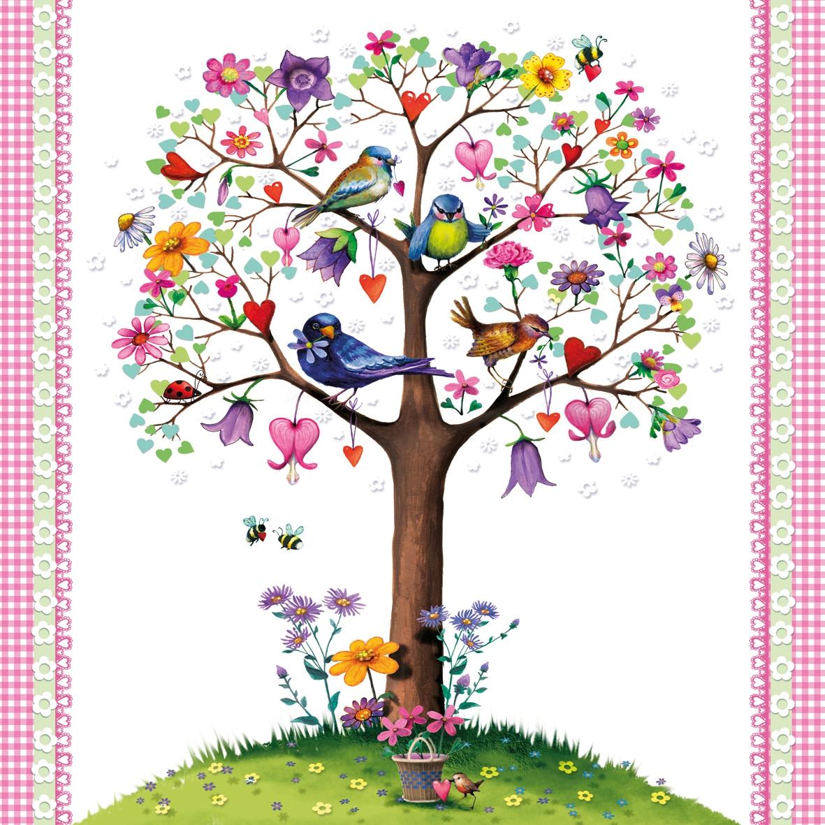 Cocktail Servietten Love Tree white,  Regionen - Wald / Wiesen,  Tiere - Vögel,  Everyday,  cocktail servietten,  Baum,  Vögel,  Wiese