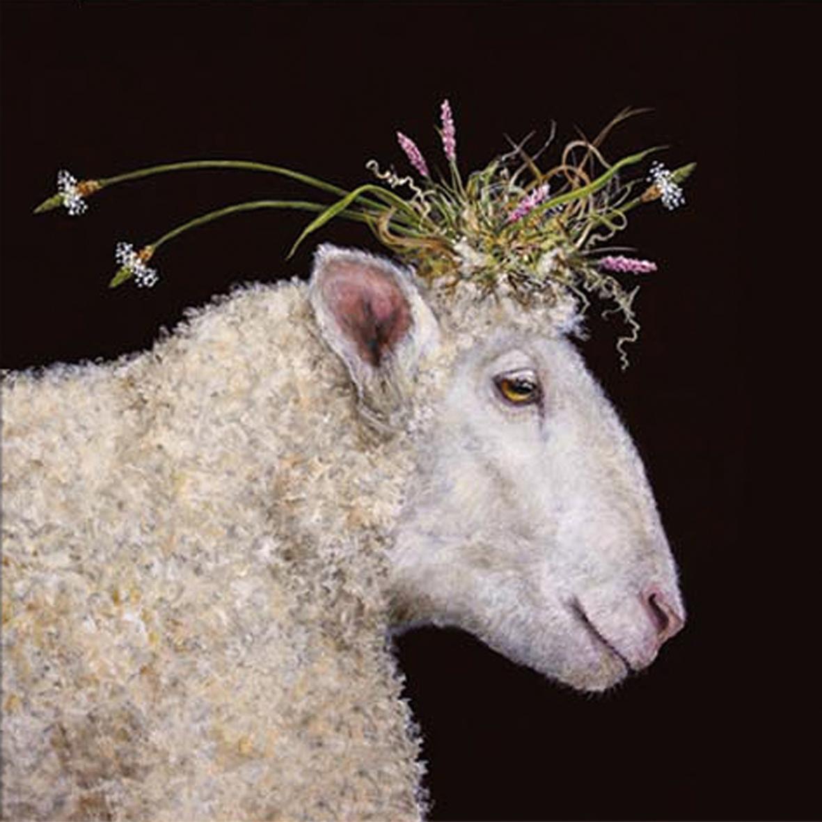 Servietten 25 x 25 cm,  Blumen -  Sonstige,  Tiere - Schafe,  Everyday,  cocktail servietten,  Schafe,  Blumen