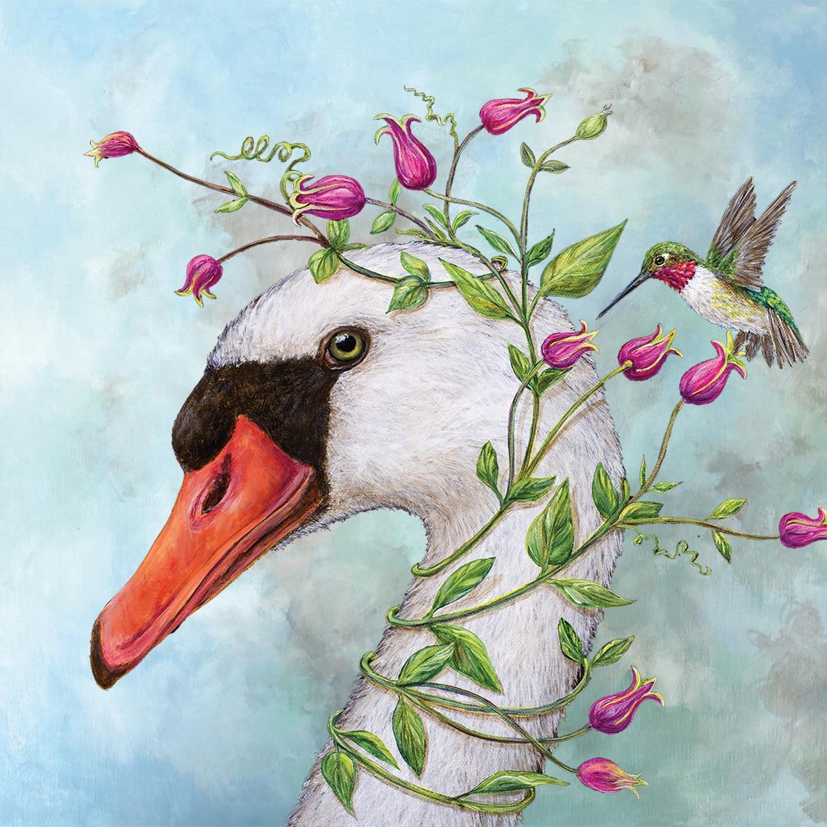 Cocktail Servietten Iris & Stanley 25x25  cm,  Blumen -  Sonstige,  Tiere - Vögel,  Everyday,  cocktail servietten,  Vögel,  Schwan,  Blumen