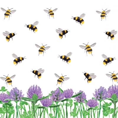 Servietten Sommer,  Pflanzen - Klee,  Tiere -  Sonstige,  Sommer,  cocktail servietten,  Bienen,  Klee