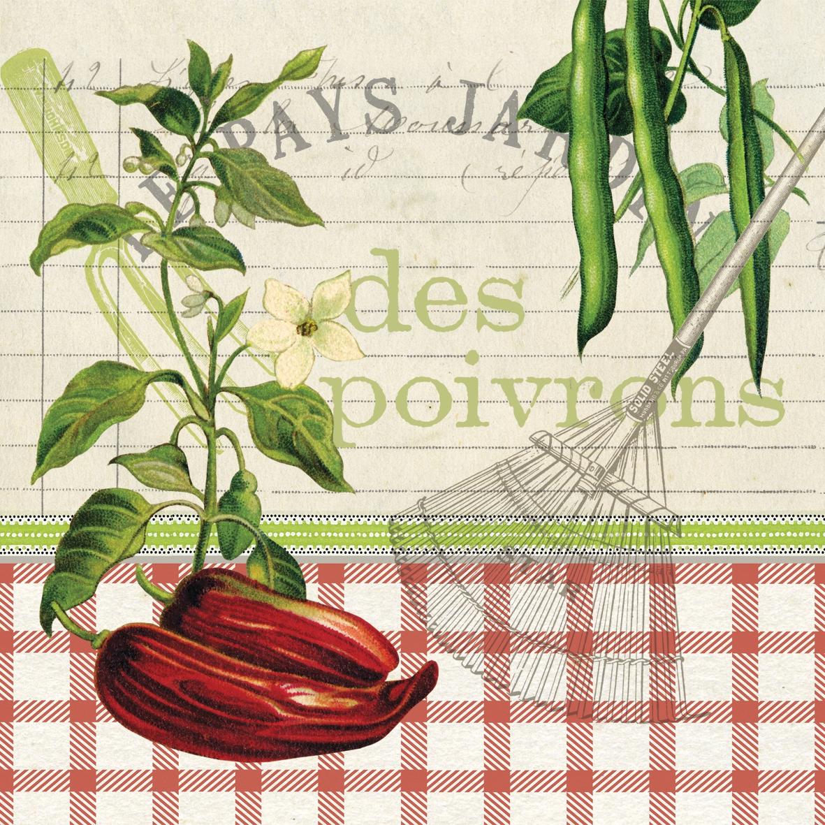 Cocktail Servietten Les Poivrons ,  Gemüse -  Sonstiges,  Everyday,  cocktail servietten,  Paprika,  Bohnen,  Schriften