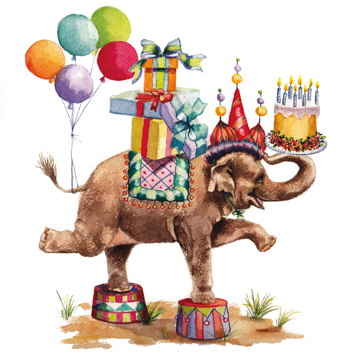 Cocktail Servietten Jumbo Birthday white 25x25 cm,  Tiere - Elefanten,  Ereignisse - Geburtstag,  Everyday,  cocktail servietten,  Geburtstag,  Kinder,  Elefant
