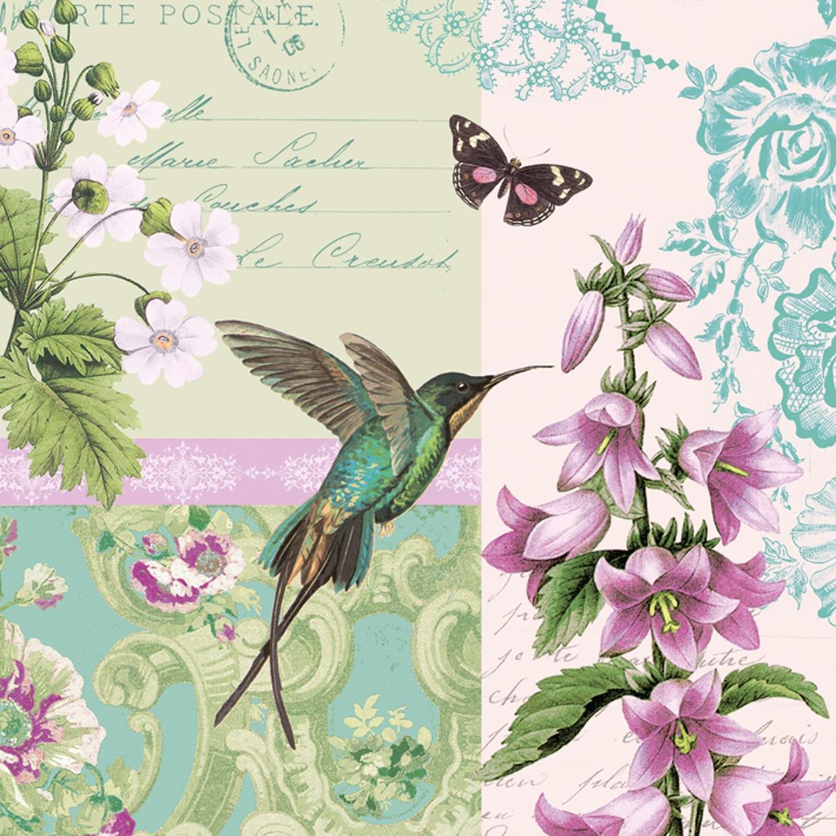Lunch Servietten Belle Colibri                    ,  Blumen -  Sonstige,  Tiere - Vögel,  Everyday,  lunchservietten,  Kolibri,  Blumen,  Schmetterlinge