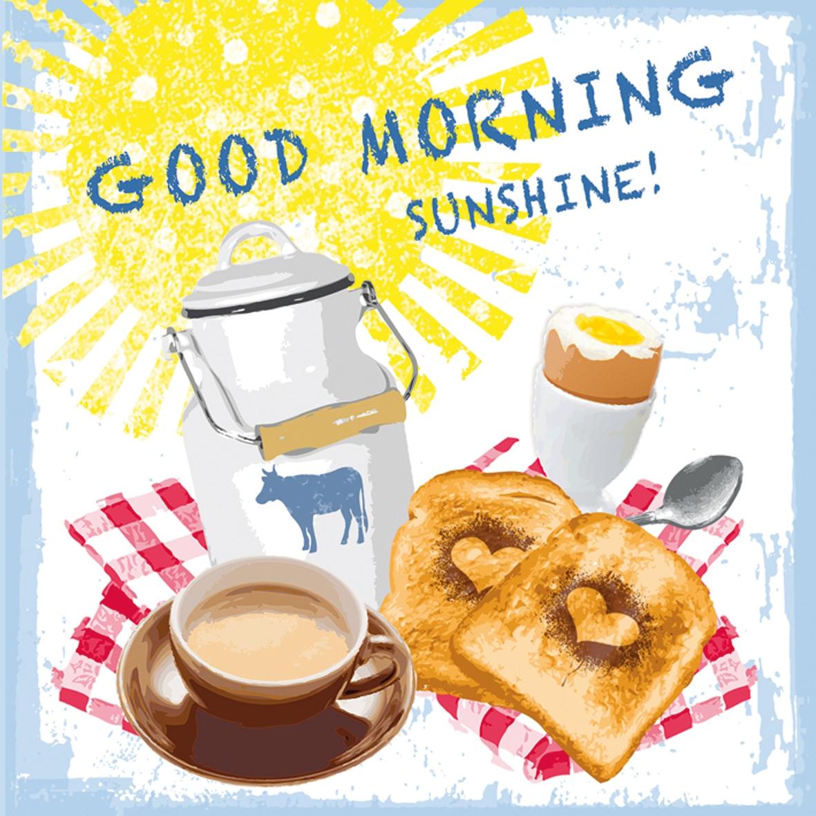 Paperproducts Design,  Essen -  Sonstiges,  Getränke Kaffee / Tee,  Essen - Brot / Brötchen,  Everyday,  lunchservietten,  Frühstück,  Toast,  Eier,  Milch,  Kaffee