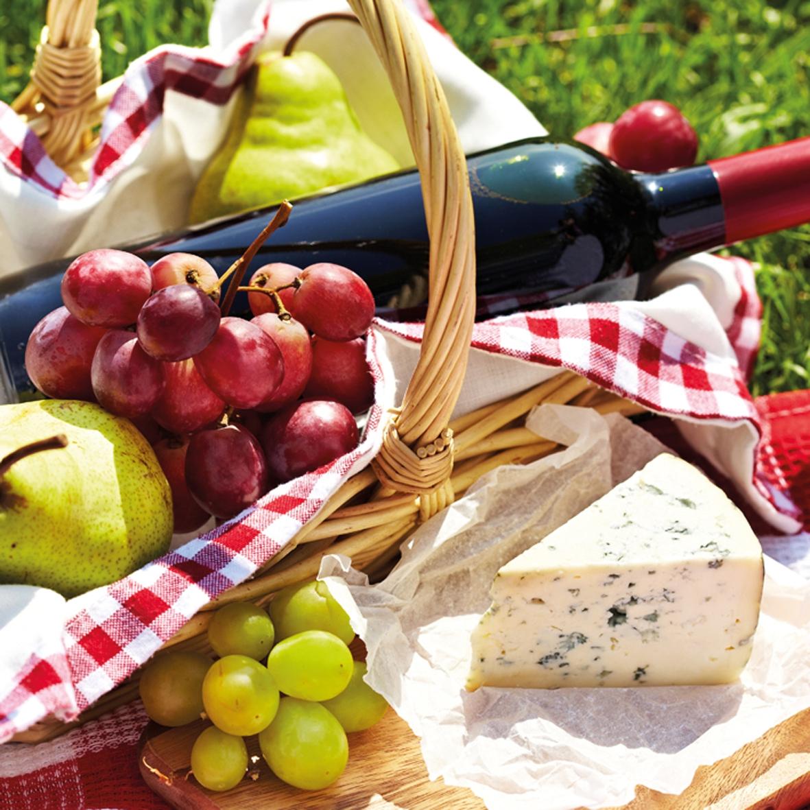 Lunch Servietten Cheese Wine & Grapes             ,  Früchte - Weintrauben,  Essen - Käse,  Everyday,  lunchservietten,  Rotwein,  Käse,  Weintrauben