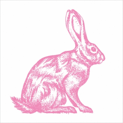 Lunch Servietten Mod Rabbit pink white,  Tiere - Hasen,  Ostern,  lunchservietten,  Hasen