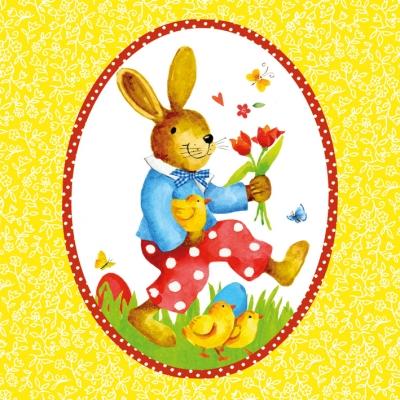 Lunch Servietten Happy Rabbit yellow